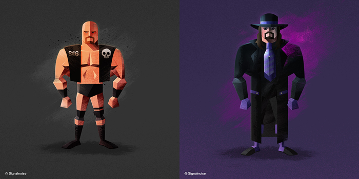 Illustrations of characters Stone Cold and the Undertaker by graphic designer James White