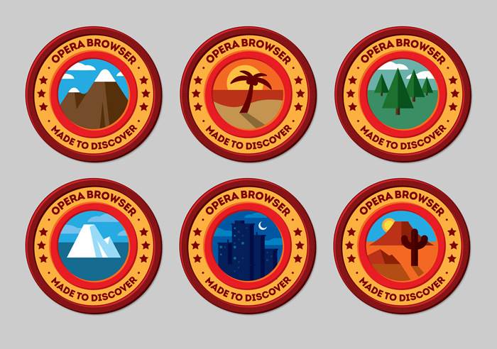 Patch designs for Mozilla Opera's Made to Discover campaign, designed by James White