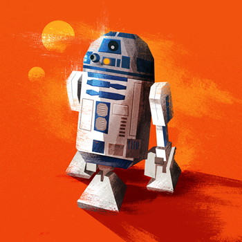 Images of Star Wars' R2D2 and Star Trek's Enterprise, by graphic designer James White