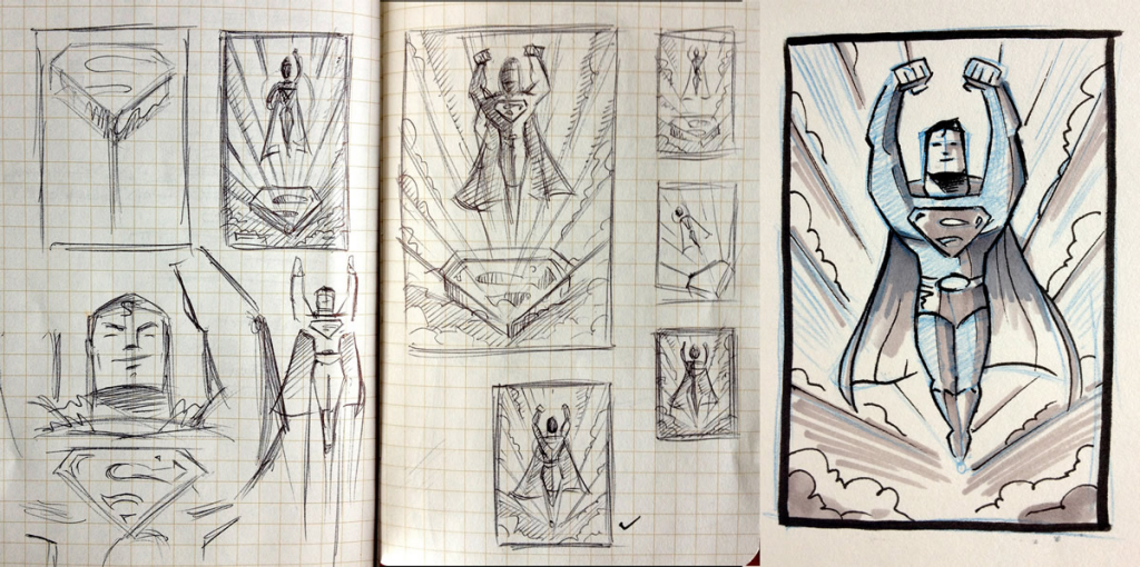 Sketches for a Superman poster, by graphic designer James White