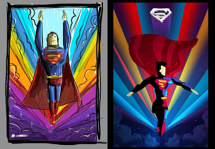 Digital sketches of Superman, by graphic designer James White