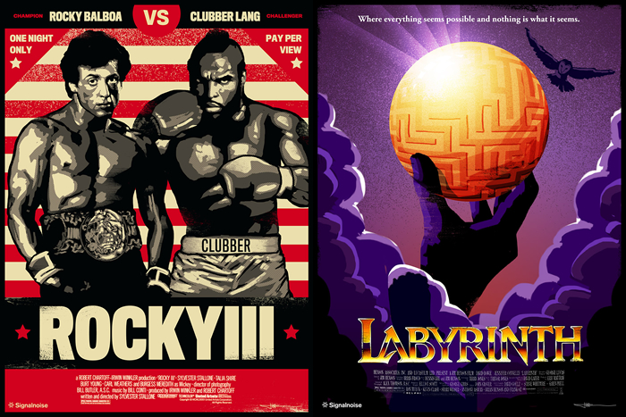 Movie posters for Rocky III and Labyrinth, designed by graphic designer James White
