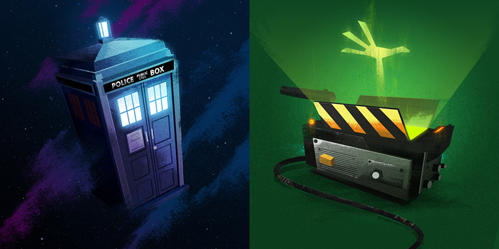 TARDIS and Ghostbusters illustrations by graphic designer James White