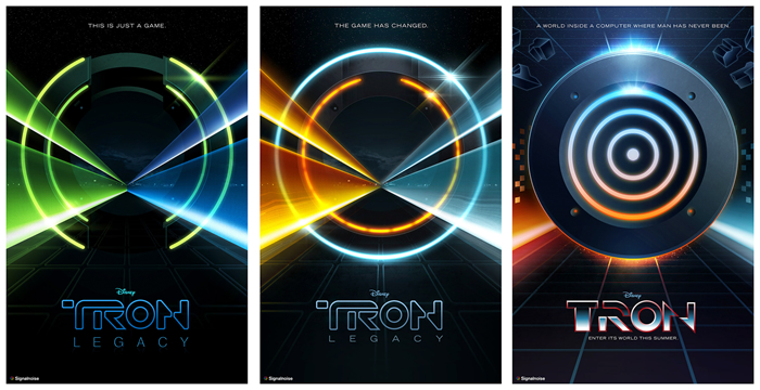 Movie poster trilogy for the movie Tron, by designer James White