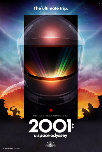 Movie poster for 2001: A Space Odyssey, by graphic designer James White
