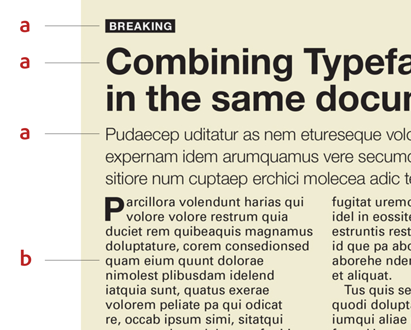 An example of the typefaces Helvetica and Univers used in the same layout