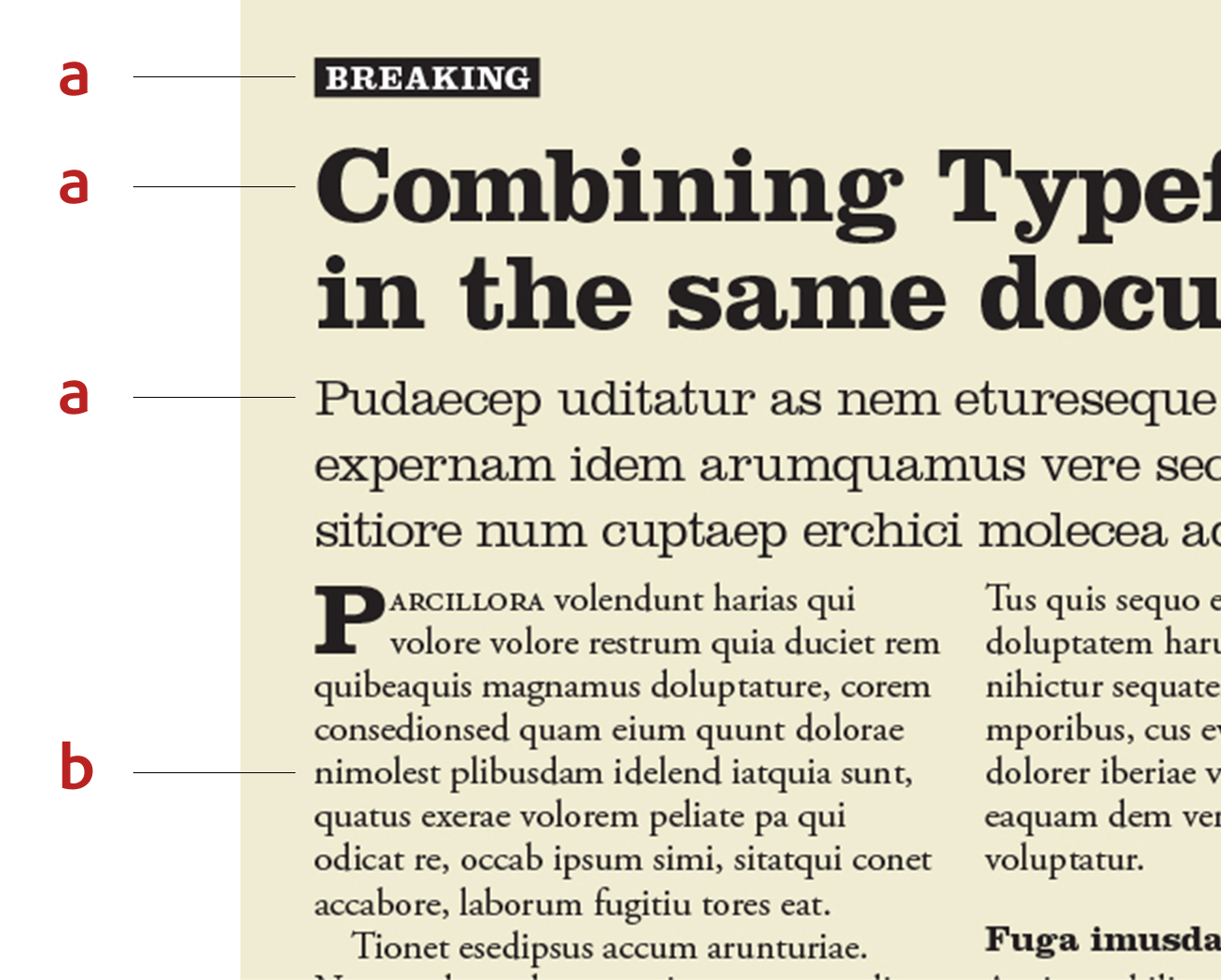 An example of the typefaces Clarendon and Adobe Garamond used in the same layout.
