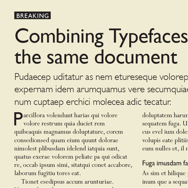 An example of the typefaces Gill Sans and Perpetua in the same layout.