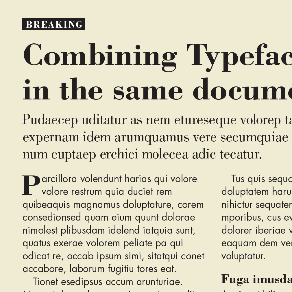 An example of the typefaces Bodoni and Futura in the same layout.