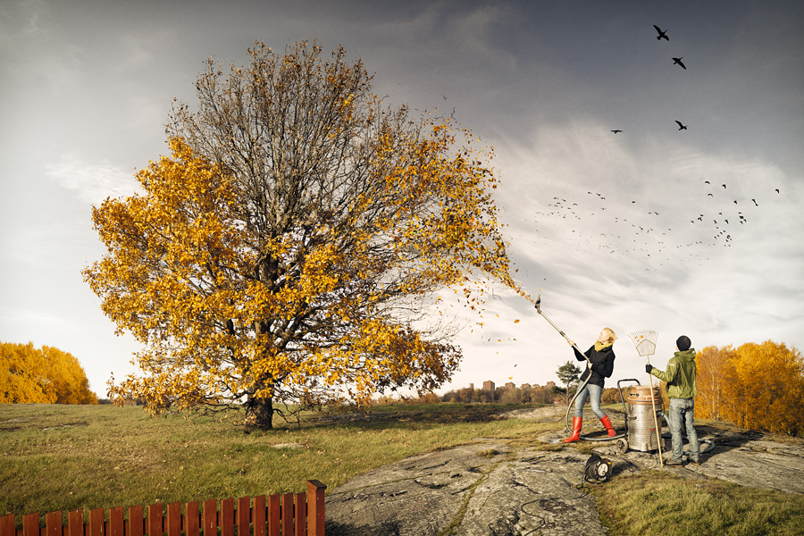 A retouched photo by Erik Johansson, titled Helping Fall