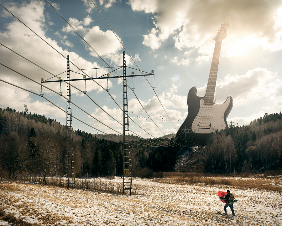A retouched photo by Erik Johansson, titled Electric Guitar