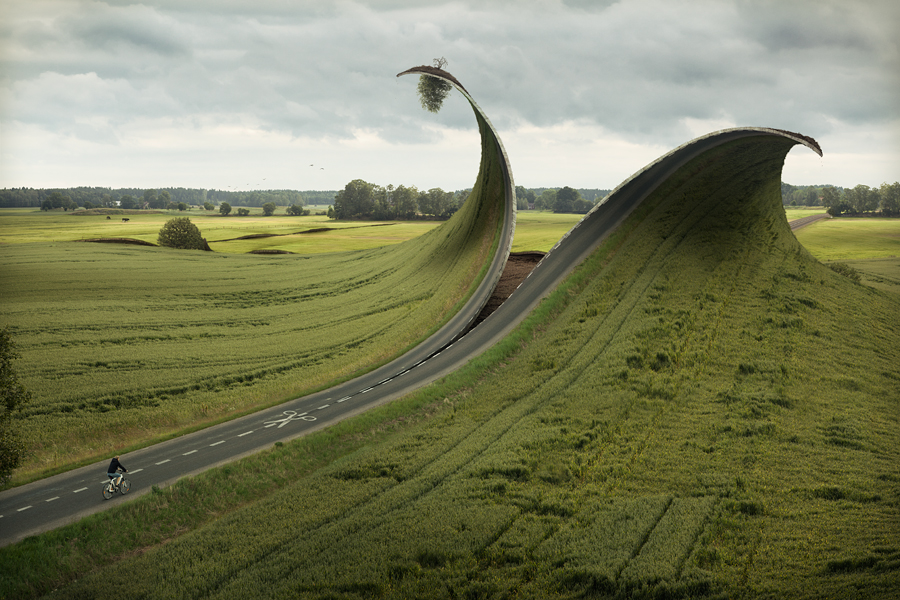 A retouched photo by Erik Johansson, titled Cut & Fold