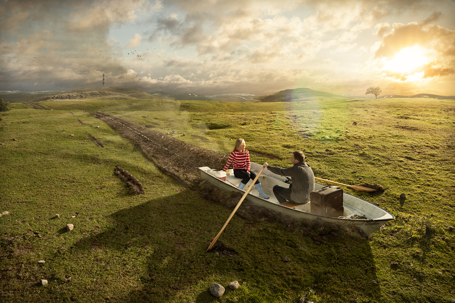 A retouched photo by Erik Johansson, titled Groundbreaking