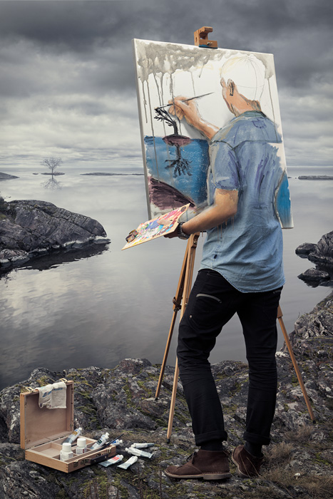 A retouched photo by Erik Johansson titled Self-actualization