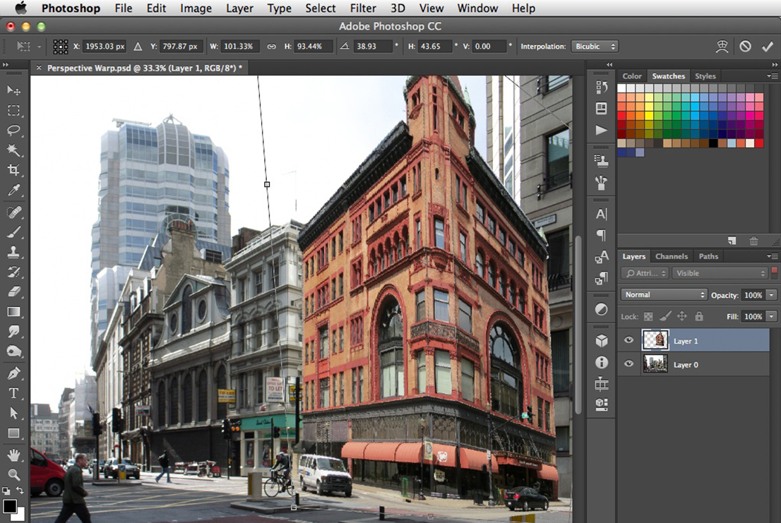 Shows the use of Photoshop's Free Transform to change the perspective of a photo.