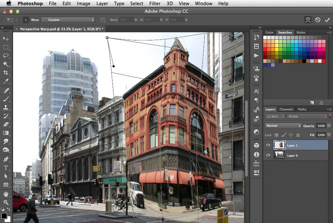 screenshot shows the use of Photoshop's Image Warp tool