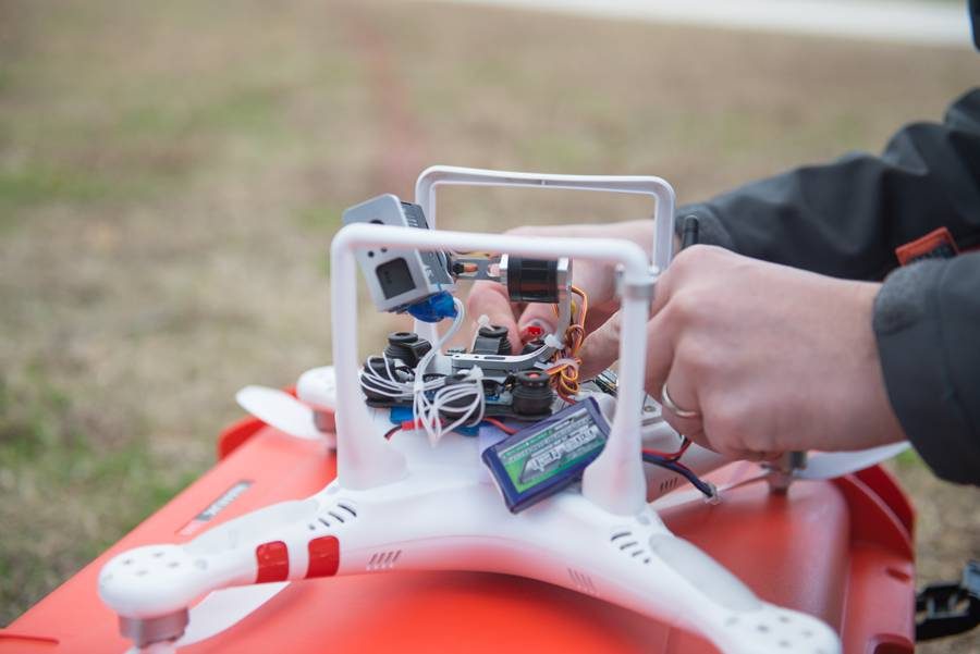 Connecting a GoPro camera to the DJI Phantom helicopter.
