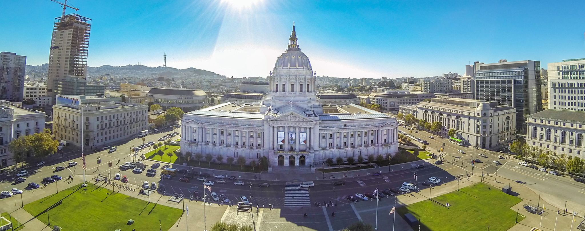 Three Aerial Photos Stitched Together Into One Panoramic Photo Of San Franciscos City Hall