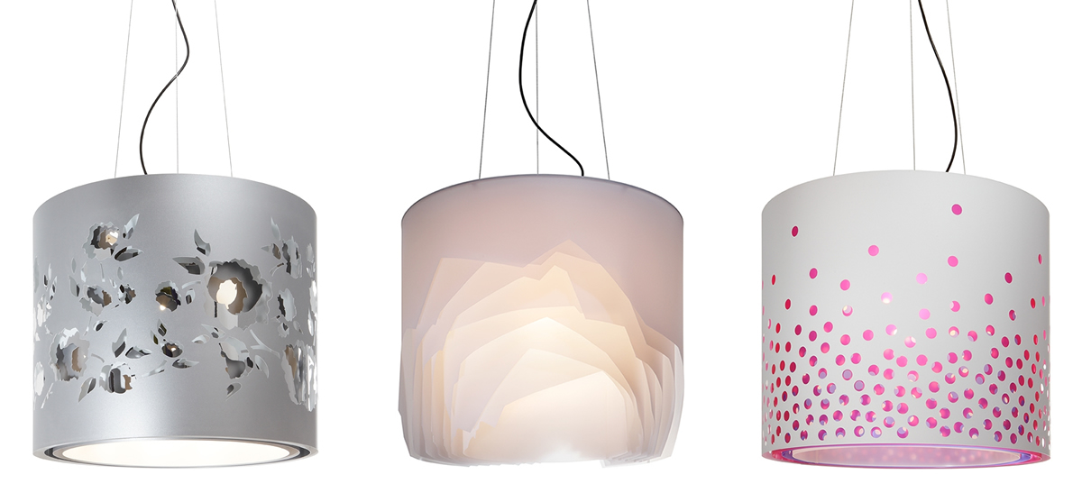 Paper lampshades created by artist Maud Vantours