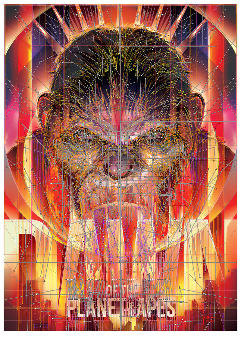 In-progress shots of movie poster for Dawn of the Planet of the Apes made by Orlando Arocena