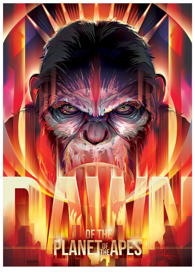 Final movie poster for Dawn of the Planet of the Apes made by Orlando Arocena