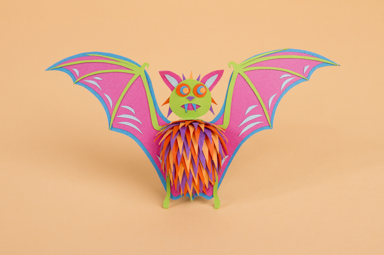 A colorful paper bat - paper art by Zim & Zou