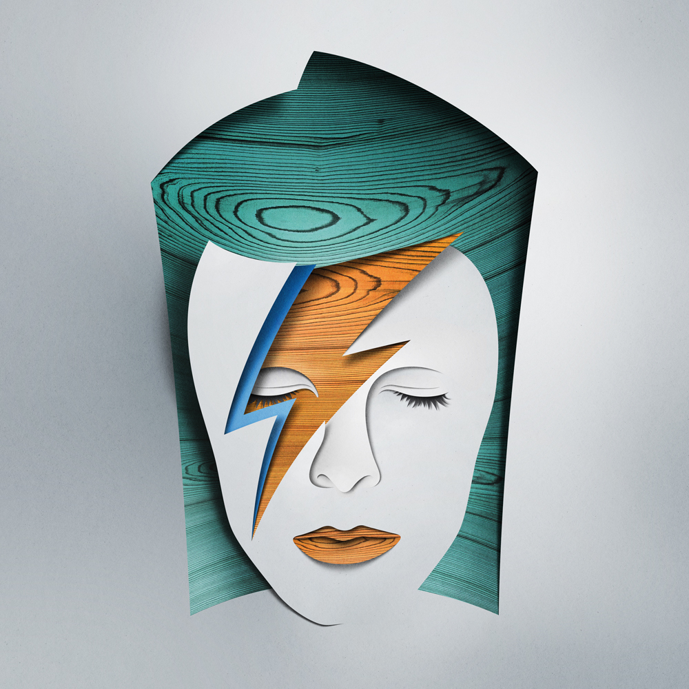 Paper art by Eiko Ojala - a paper sculpture representing David Bowie
