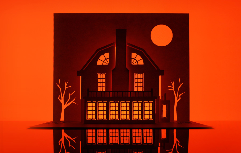 Paper art by Marc Hagan-Guirey, representing the Amityville Horror House