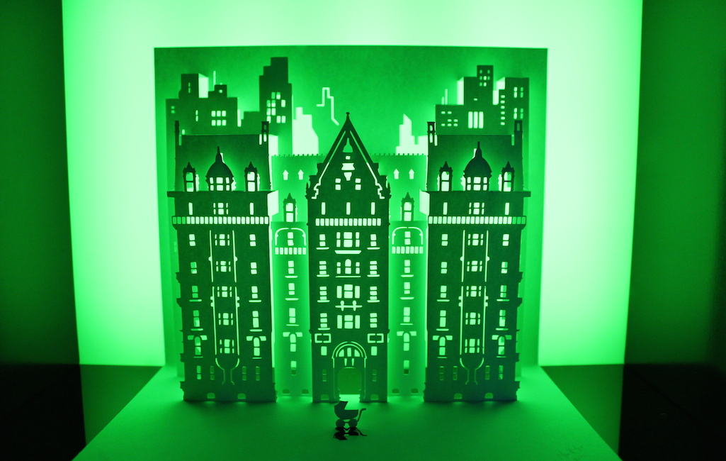 Paper art by Marc Hagan-Guirey, representing the Dakota, the building made famous as the apartment building in Rosemary's Baby.