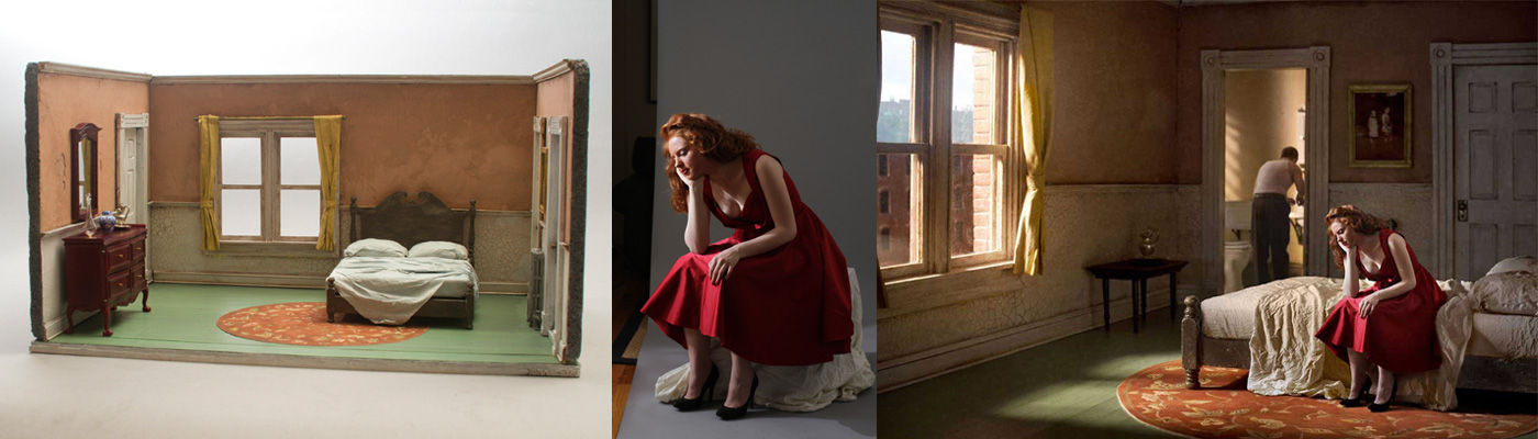 From left to right: The diorama Richard built for his Pink Bedroom series; a photo shoot with the model who appears in Pink Bedroom (Daydream); and the final Pink Bedroom (Daydream) composition.