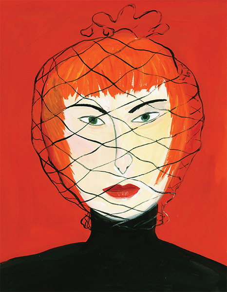 illustration of a woman in a net hat by Maira Kalman