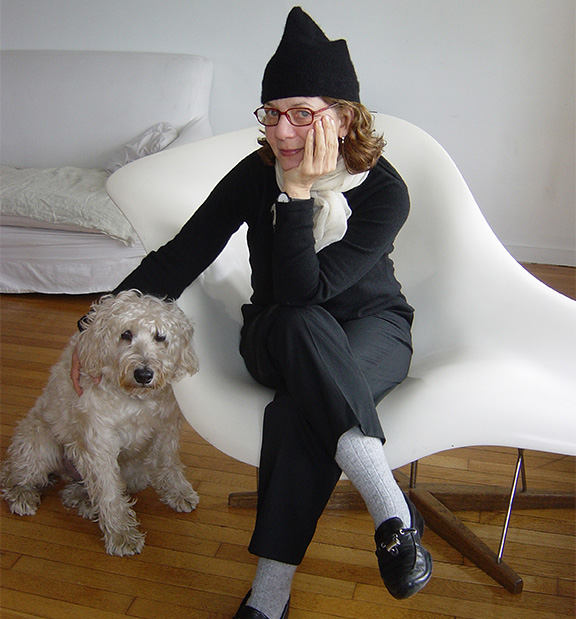 photo of Maira Kalman, with her dog