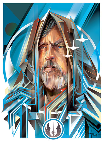 Illustration of Luke Skywalker, by Orlando Arocena