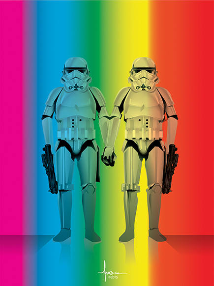 Illustration of gay Star Wars storm troopers, by Orlando Arocena