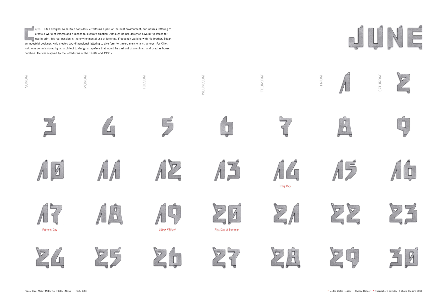 A month from Kit Hinrich's typographic calendar, called