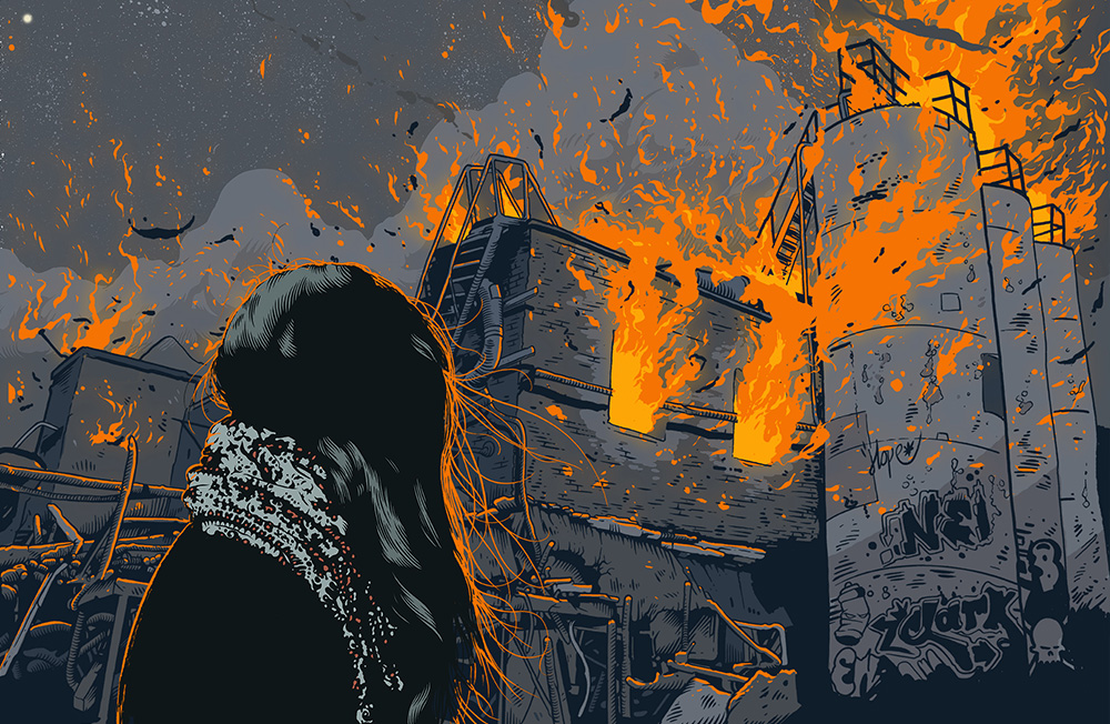 Illustration of a woman looking at a fire, for Atlantic magazine, by Tim McDonagh.