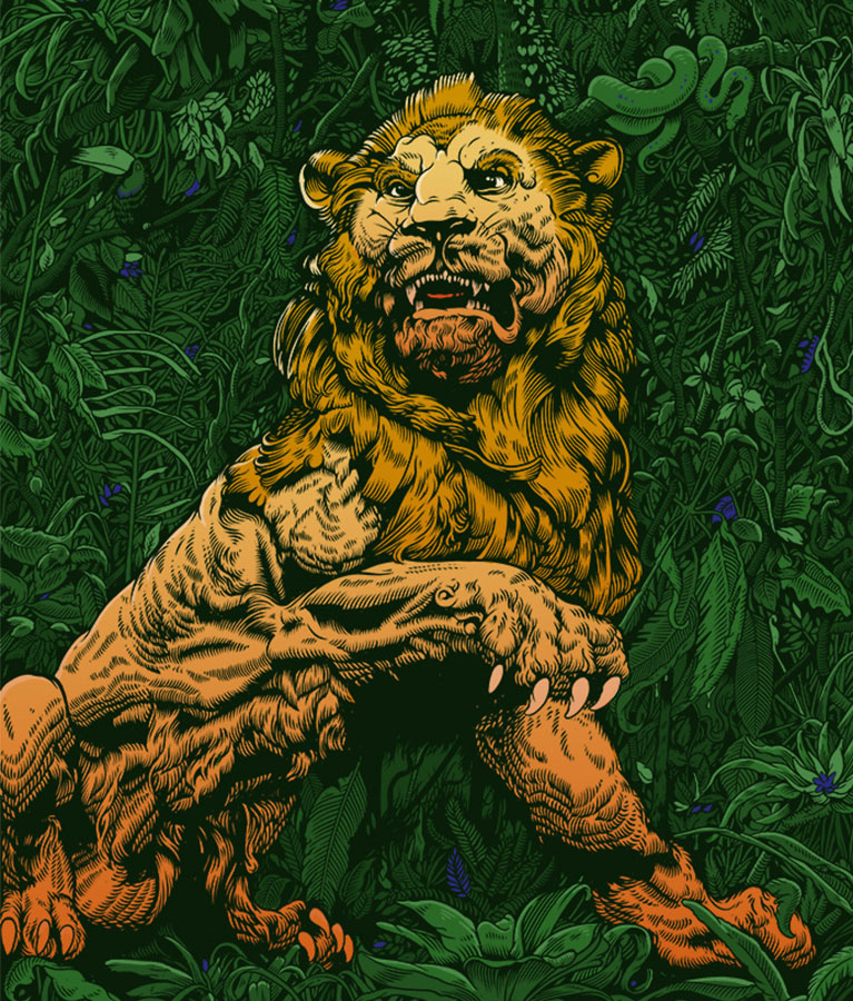 An illustration by Tim McDonagh, it shows a majestic lion.