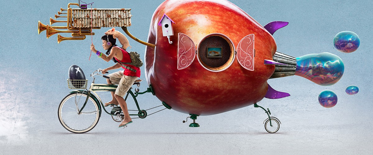 Image of a boy with an apple bicycle, by Jerico Santander