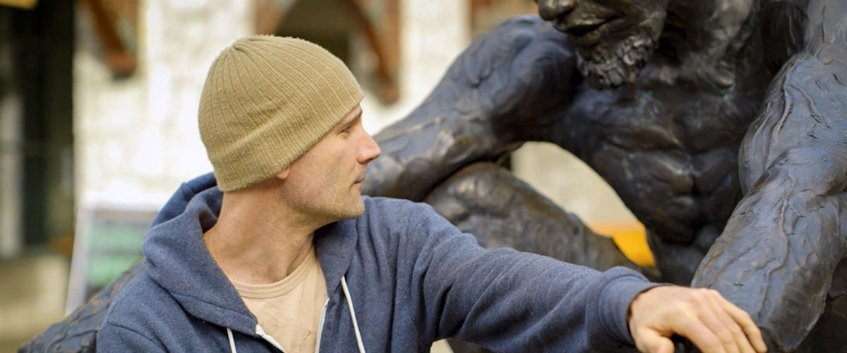 Sculptor James Stewart with Jeri, a 3D-printed sculpture