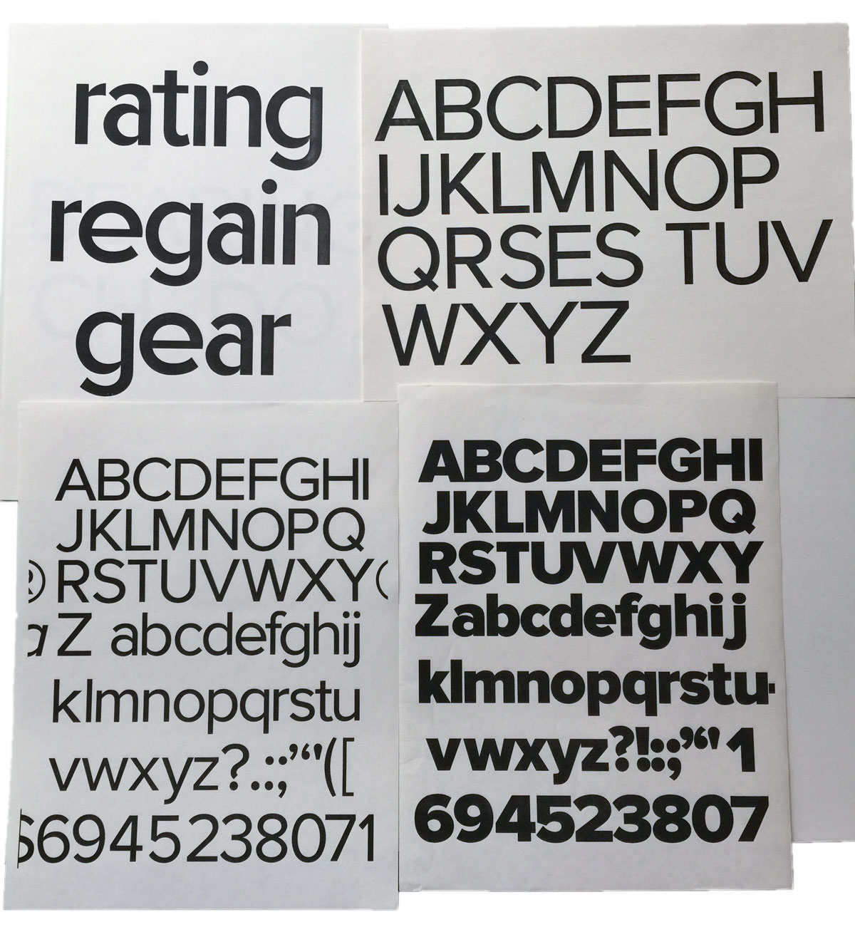 Zanzibar (later renamed Proxima Sans) in its digital infancy and Proxima Nova Regular toda (typefaces designed by Mark Simonson).