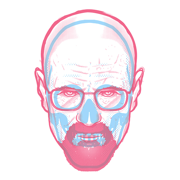 An illustration representing Walter White's skull, by Musketon, aka Bert Dries