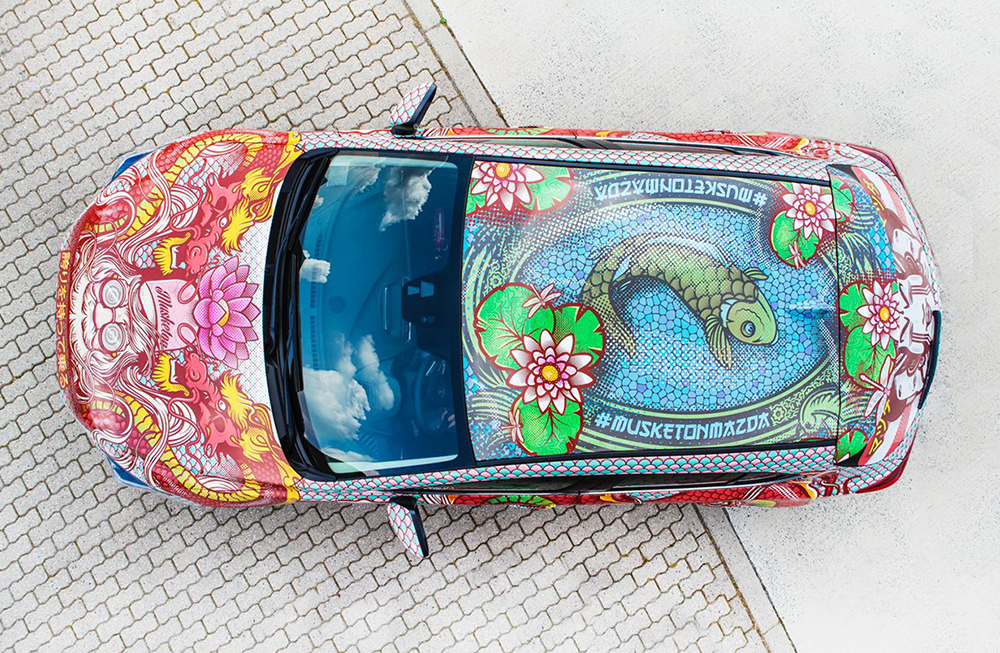 photo of a Mazda art car with a sticker wrap created by Musketon