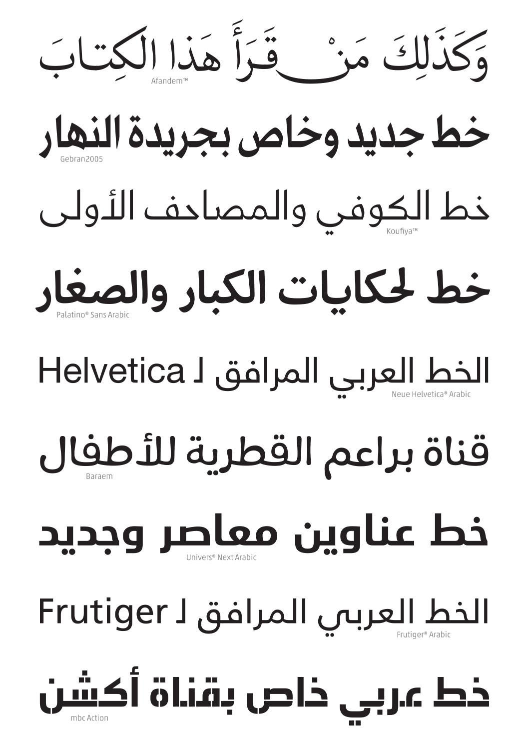 Arabic typefaces designed by Nadine Chahine, including Helvetica Arabic