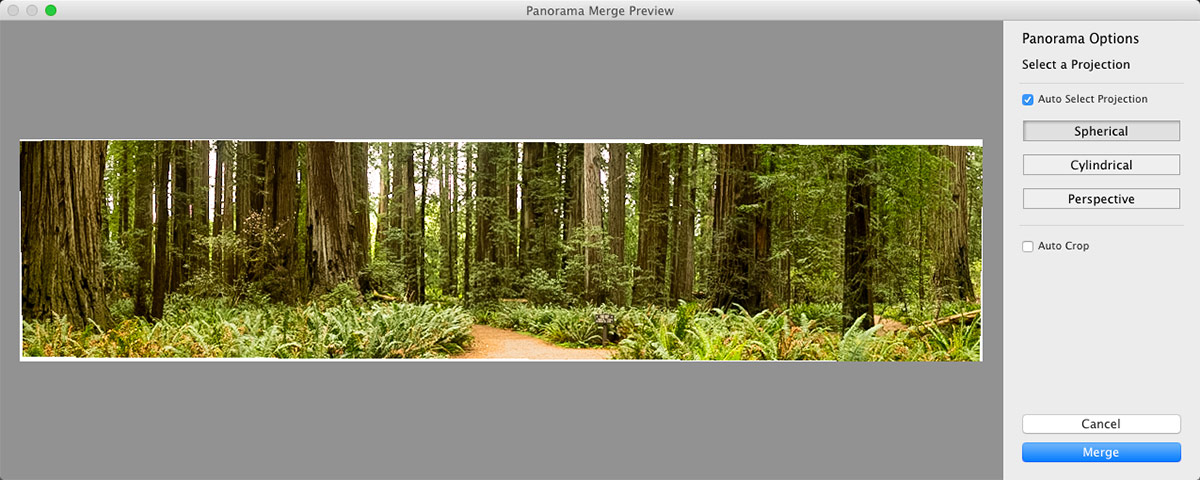 The Panorama Merge tool in Adobe Lightroom CC
