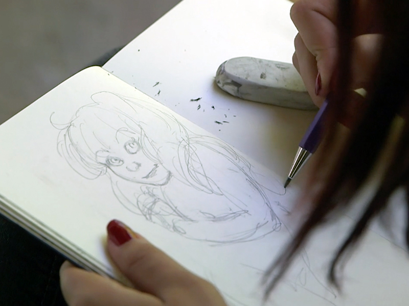 Alexandra Huntington at work on her Black Widow art for the