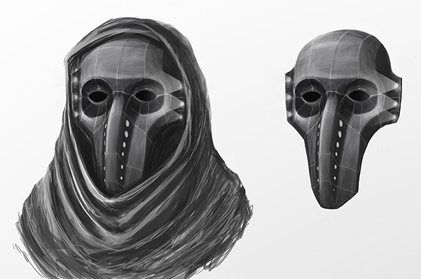 Still images of Hades' mask, from Peter Clark's video Decrypt.