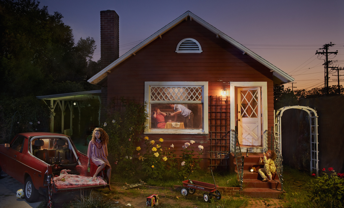 Photo composite by Ryan Schude, image of a small house with a scene of a domestic argument.