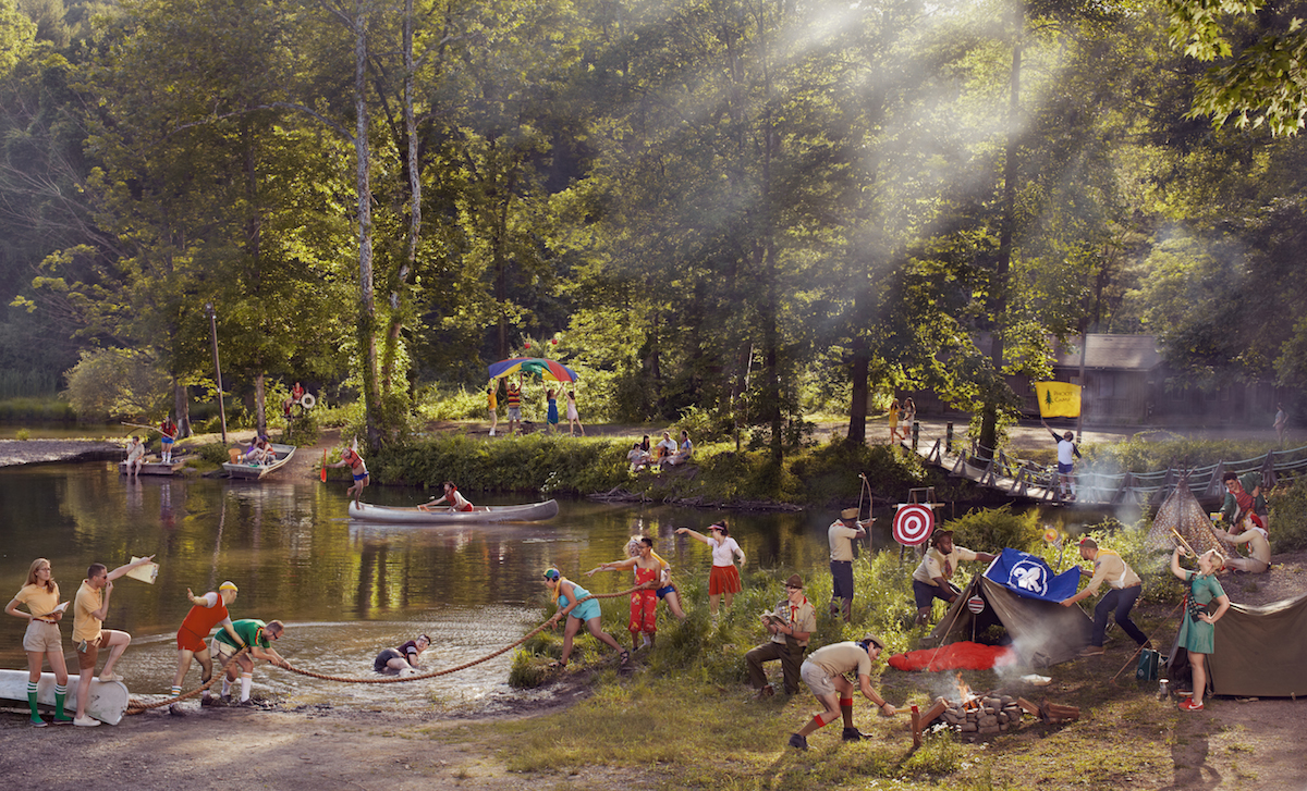 Photo composite by Ryan Schude, image of a summer camp by a lake