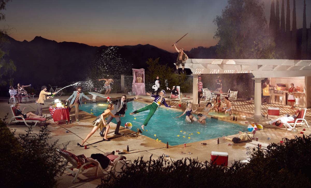 Photo composite by Ryan Schude, image of a crazy pool party.