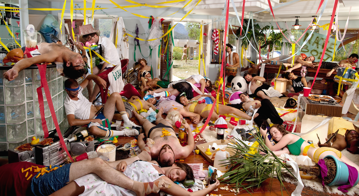 photo composite by Ryan Schude, of the aftermath of a frat party.